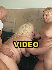 Intense BBW threesome with Melinda Shy and Faye taking turns in getting their hands on a cock